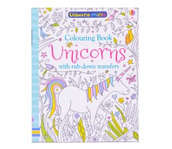 Usborne Minis - Unicorns colouring book with rub-down transfers
