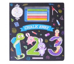 Chalk Away: 123 Board Book - With 5 Colour Chalks and Wipe-Clean Pages