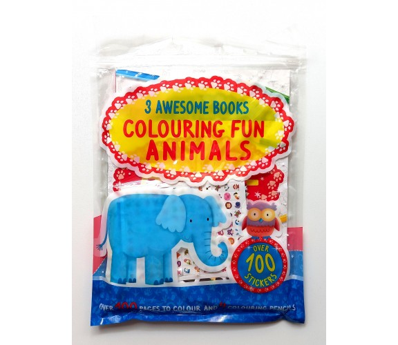 Animals Colouring Fun with 3 Amazing Books and Over 100 Stickers + Colouring Pencils