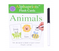 Alphaprints: Wipe Clean Board Flash Cards Animals with Pen