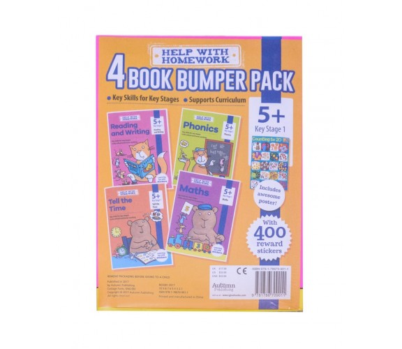 5+ Book Pack - Maths, Phonics, Reading and Writing, Tell the Time - With 400 rewards stickers