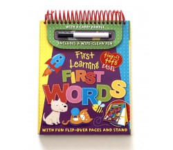 Tiny Tots Easel First Learning First Words Wipe Clean Flip-Over Pages and Stand With Pen