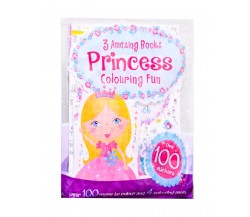 Princess Colouring Fun with 3 Amazing Books and Over 100 Stickers + Colouring Pencils