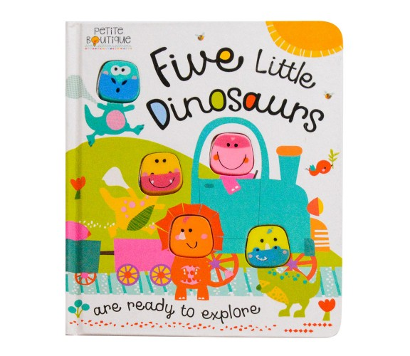 Petite Boutique - Five Little Dinosaurs Board Book with 5 silicone shapes