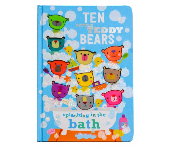 Ten Little Teddy Bears Splashing In The Bath Board Book with 10 silicone shapes