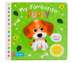 Campbell - My Favourite Puppy Board Book - Turn the Wheel and Pull-Down Flaps